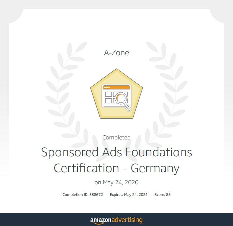 Amazon Sponsored Ads Zertifikat für A-Zone
